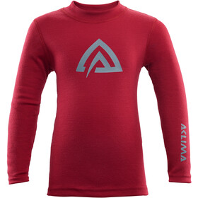 Aclima WarmWool Crew Neck Top Kinderen, chili pepper/olive night